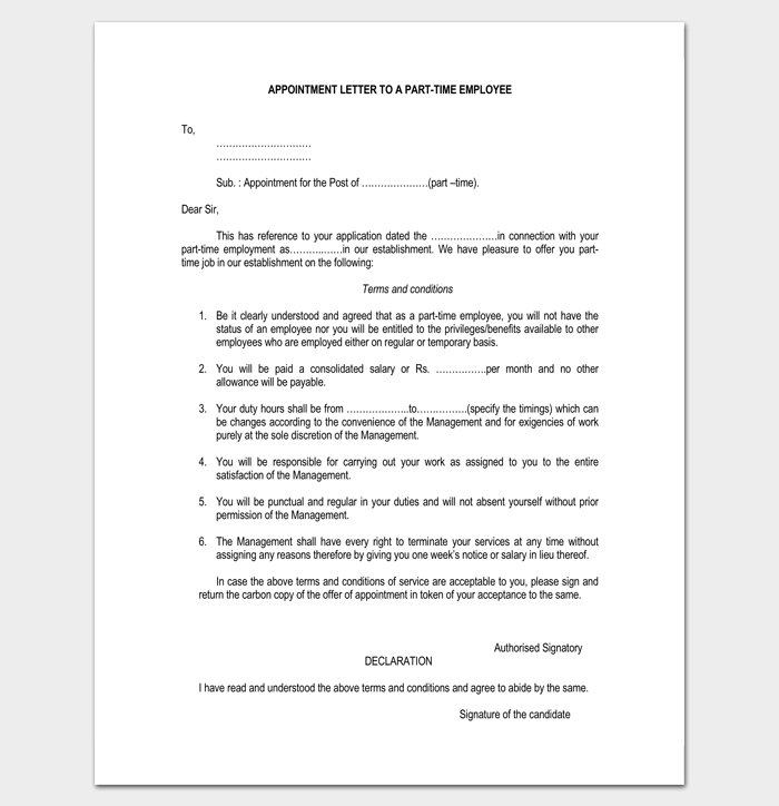 Part Time Employee Appointment Letter 1