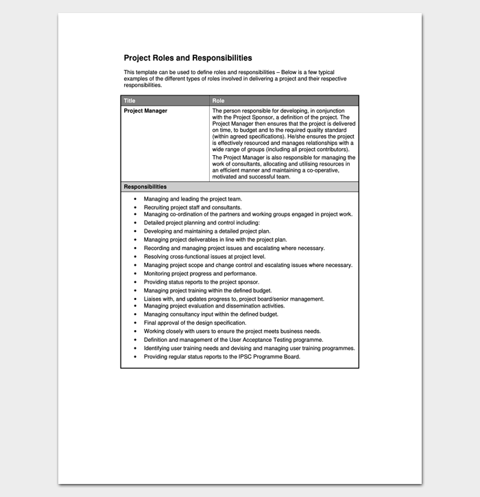 Project Roles and Responsibilities List 1