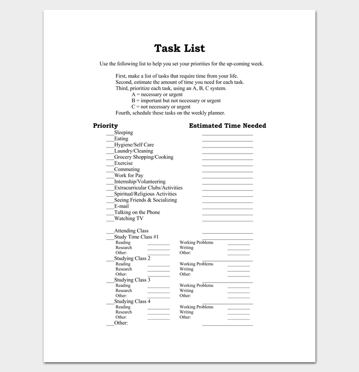 Project Task List Example 1