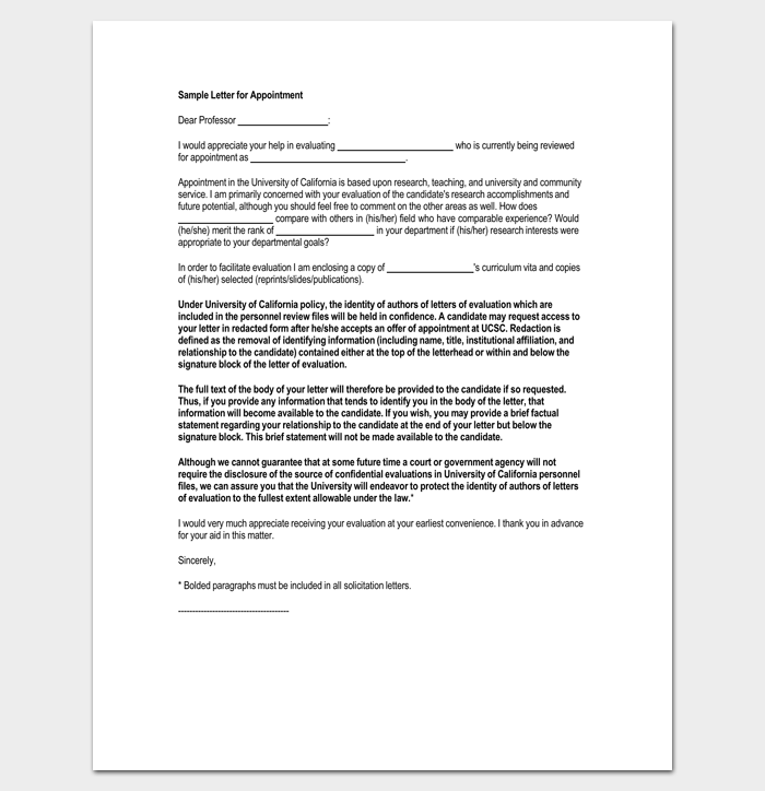 Request for Job Appointment Letter 1