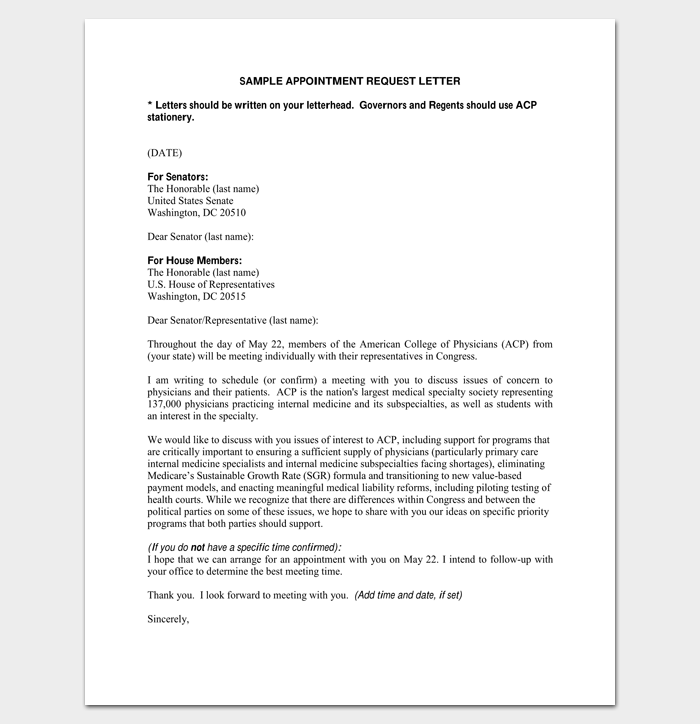 sample meeting appointment request letter 1