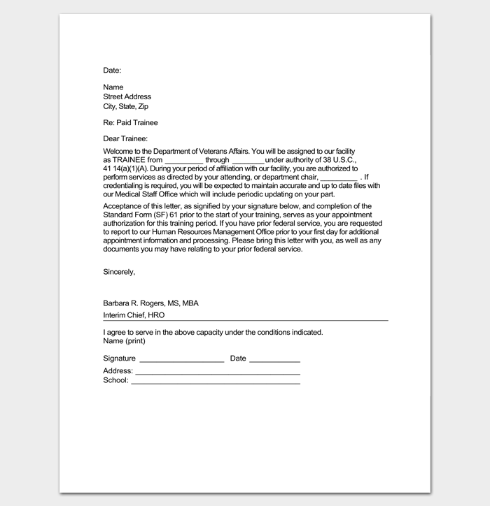Sample Trainee Appointment Letter Format