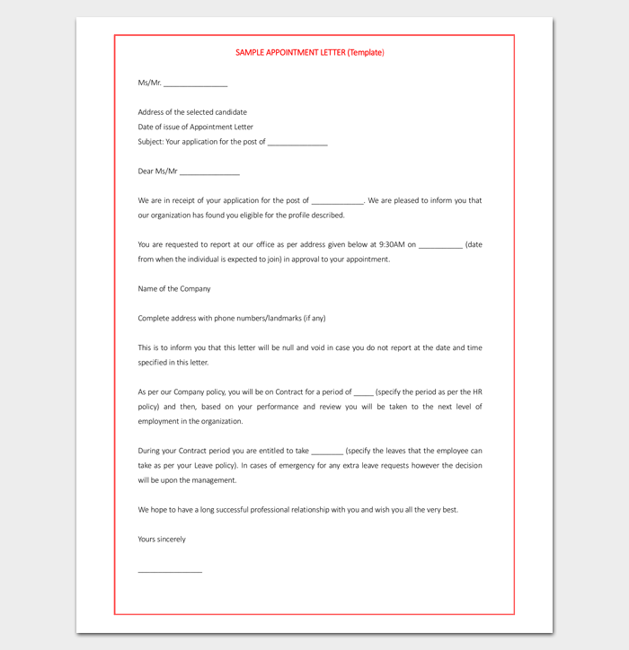 Software Trainee Appointment Letter in Word Doc