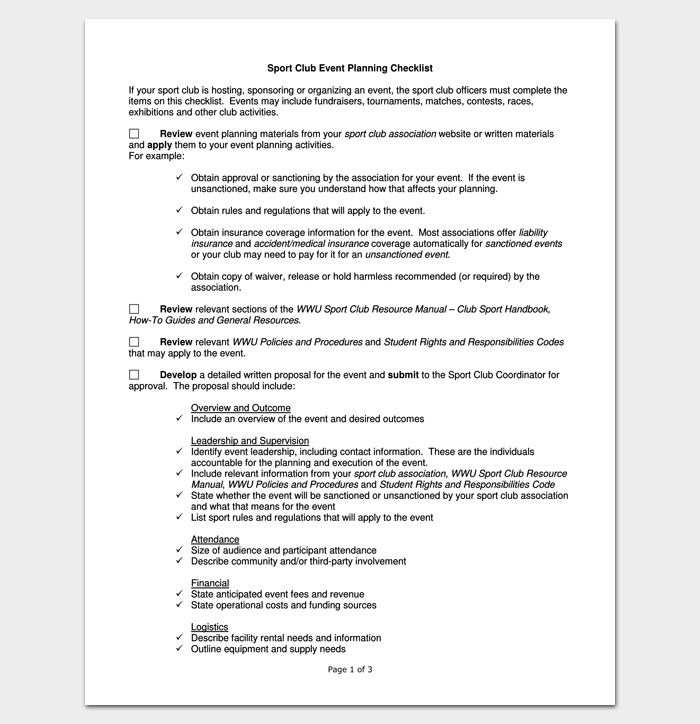 Sports Club Event Planning Checklist 1