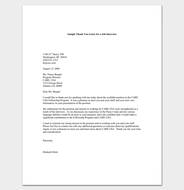 Thank You Letter for Interview 1