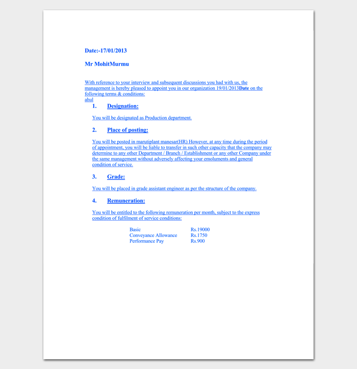 Trainee Engineer Appointment Letter Template 1