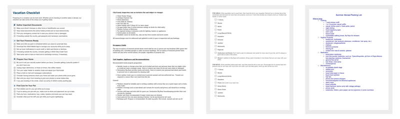 Vacation Packing List Templates