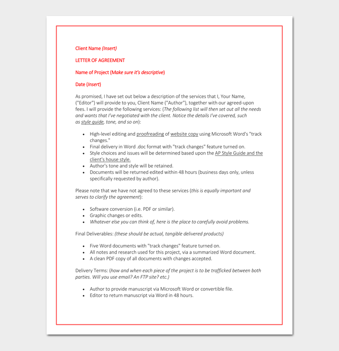 Freelance Contract Template 5 For Writing Designing Employment