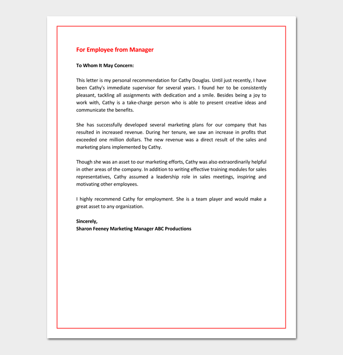 Recommendation Letter For Promotion Free Samples Formats