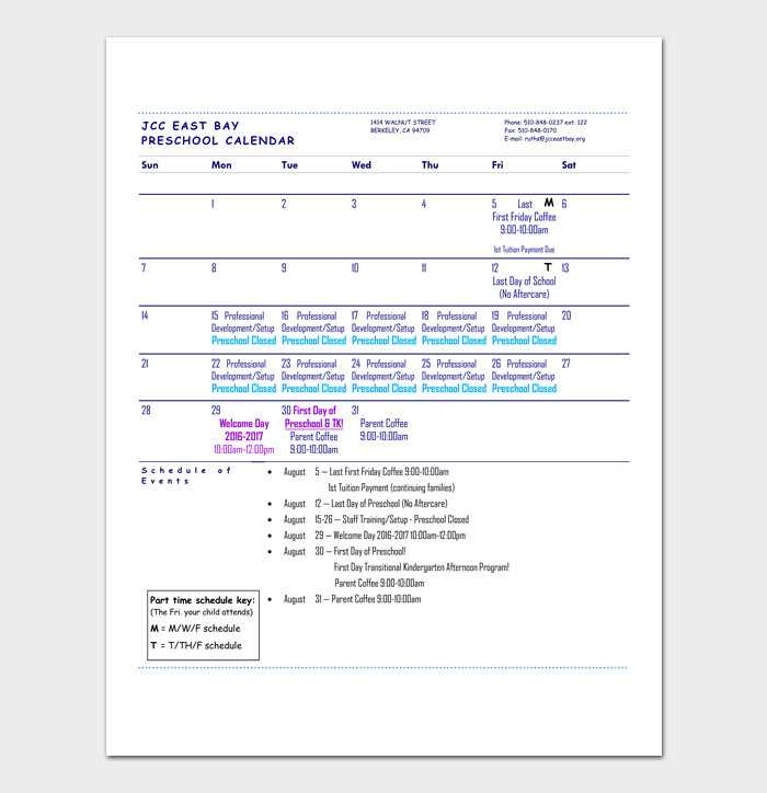 Preschool Calendar Template 4 For Daily Weekly Monthly Yearly