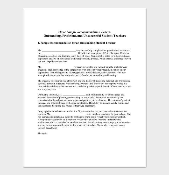 Academic Recommendation Letter 4 Samples Printable Formats