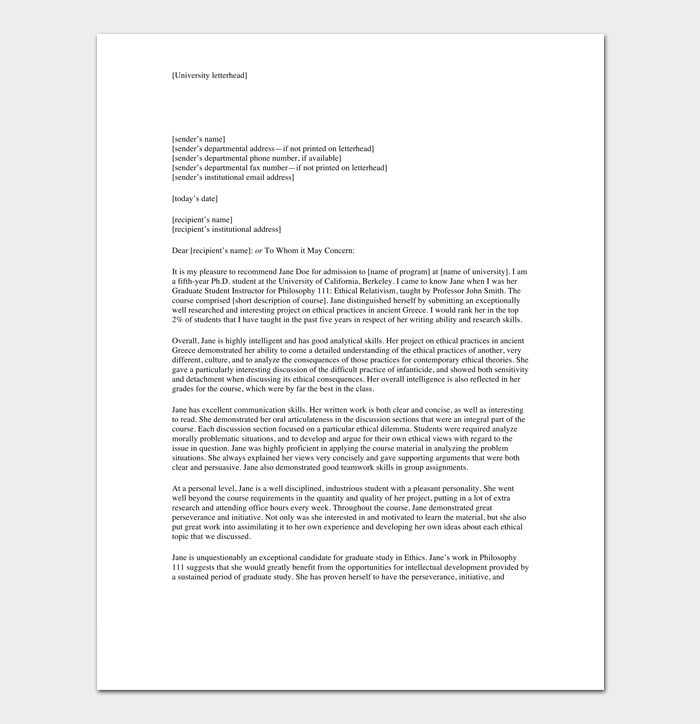 Sample Recommendation Letter for a Student 1