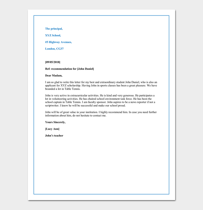 Letter of recommendation for first grade student sample format letter of recommendation for a child for private school admission altavistaventures Image collections