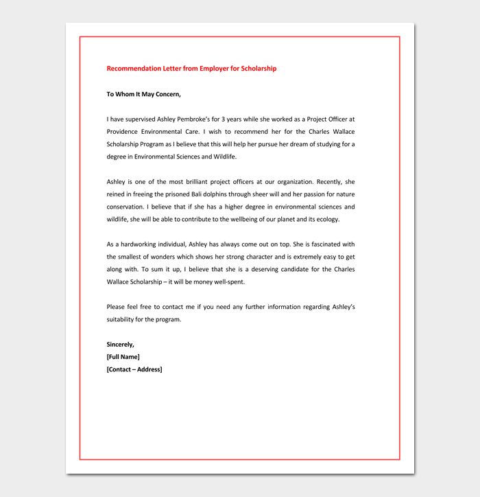 Recommendation letter for graduate school from employer dotxes recommendation letter for graduate school from employer for scholarship spiritdancerdesigns Image collections