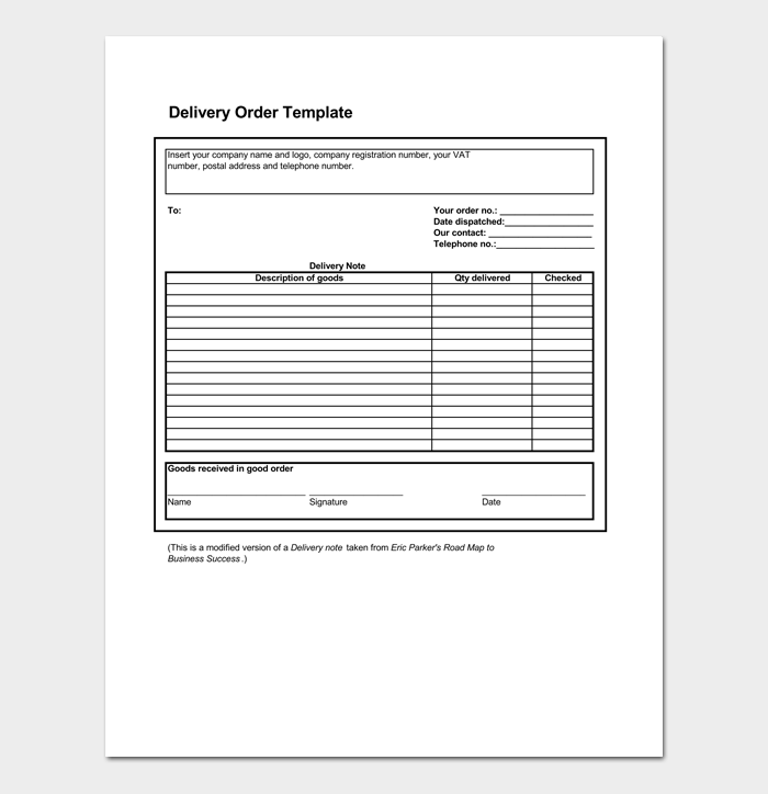 Delivery Order Template 5 Forms For Word Excel Pdf Format