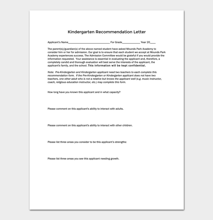 Kindergarten recommendation letter 5 samples examples formats kindergarten recommendation letter plus guide 1 spiritdancerdesigns Choice Image