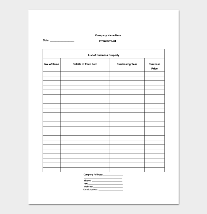 Blank Inventory List Template for Word