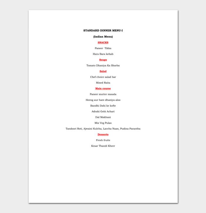 Dinner Menu List 1