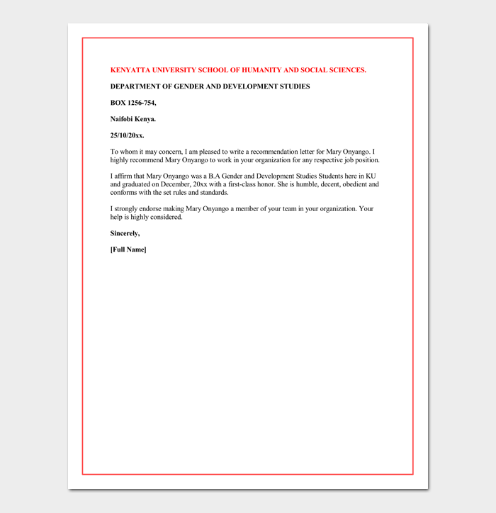 Letter Of Recommendation For A Graduate School Sample Letters - Grad school letter of recommendation template