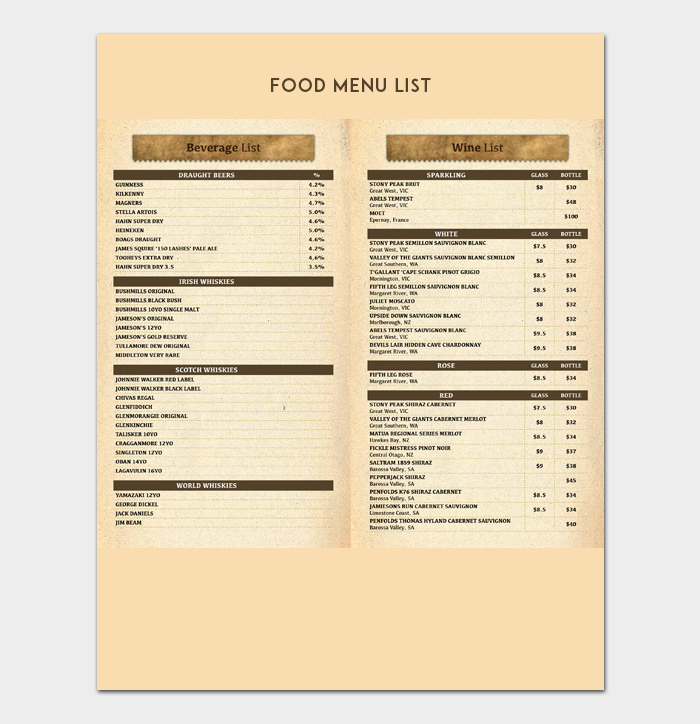 Sample Food Menu List Template