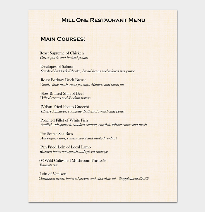 Sample Restaurant Menu List 1
