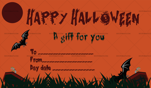 42 Halloween Gift Certificate Cemetery Printable Gift Voucher 1064