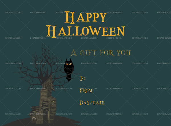 Halloween gift certificate template number 4