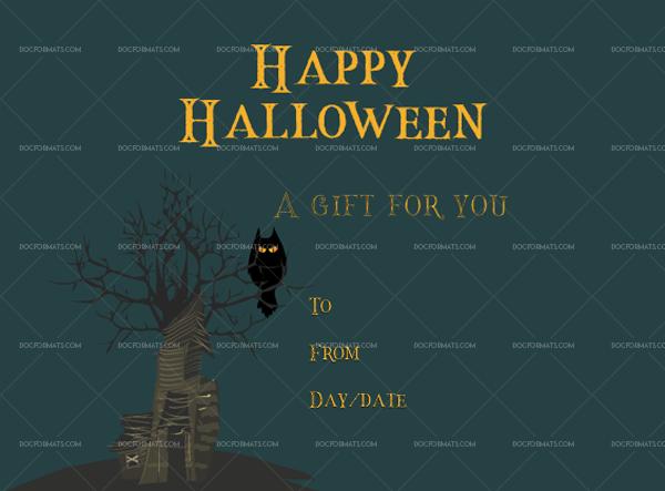 Halloween gift certificate template number 4