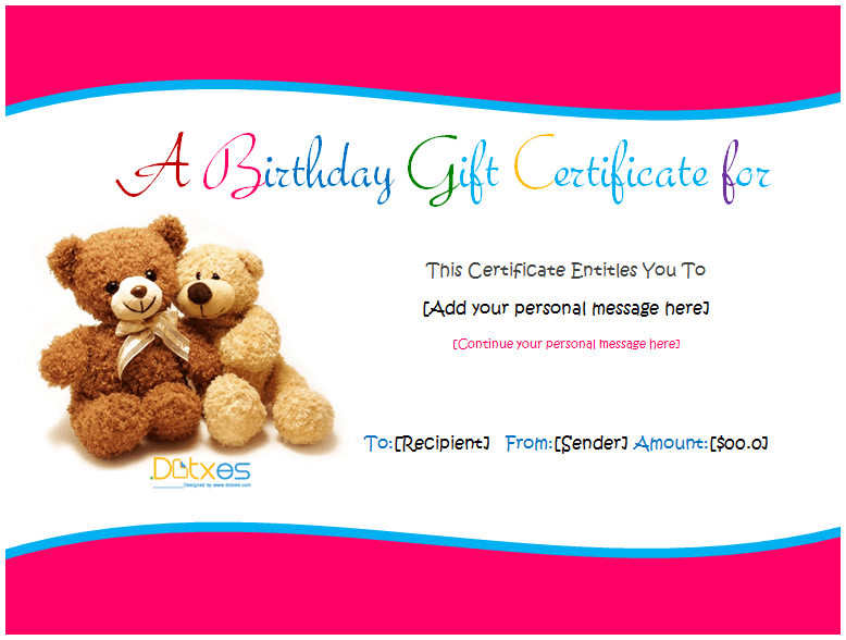 birthday gift certificate teddy design