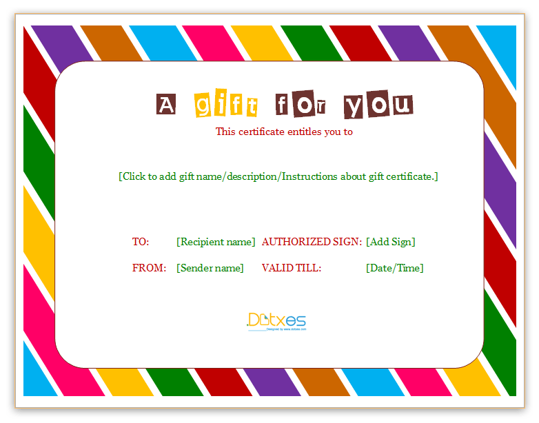 Color Block Gift Certificate (Business),. Business_Gift_Certificate Template  (color Blocks)