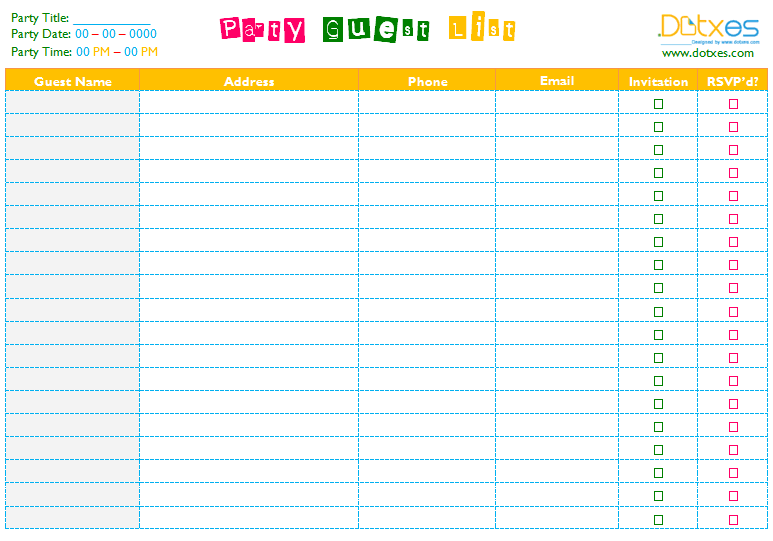 Party Guest List Template Word