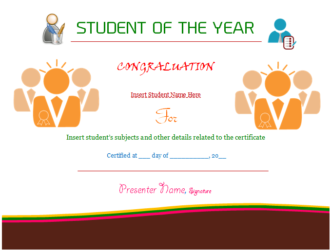 Student Of The Year Certificate Template Award Dotxes