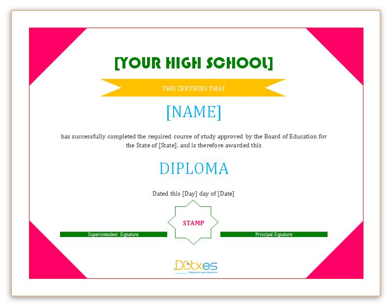 Diploma certificate template high school dotxes school diploma certificate template ms word yelopaper Images