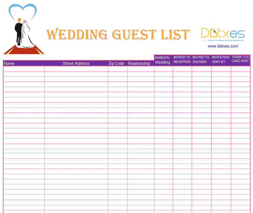 Blank wedding guest list template - Dotxes