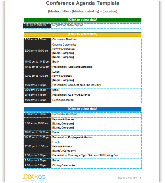 Conference agenda template Basic Format Dotxes