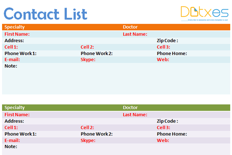 Contact List Template 4 Per Page Dotxes