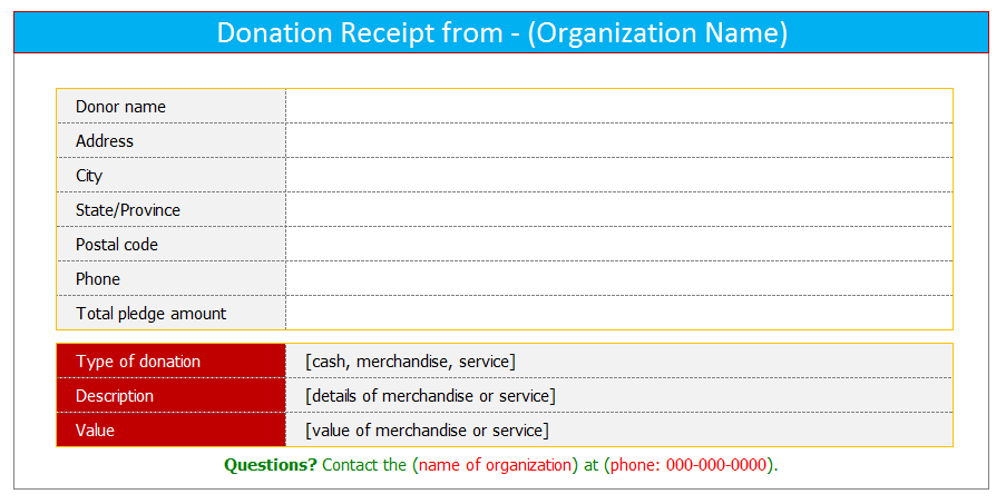 Attractive Donation Receipt Template (Excel)