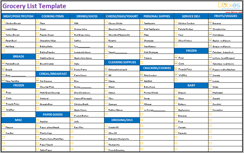 Grocery List Template Categorized Dotxes