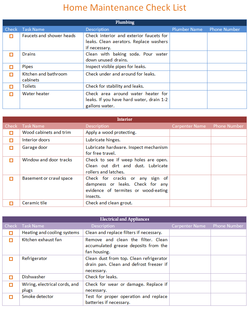 home maintenance schedule template  basic