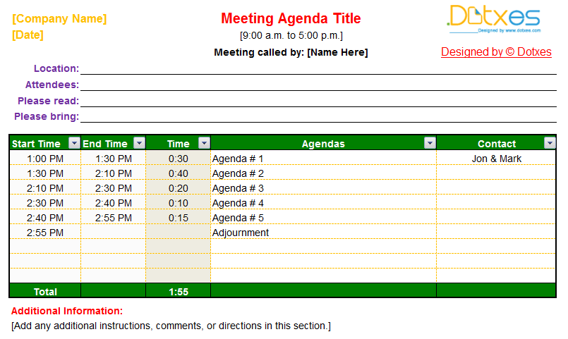 Meeting agenda template (Auto Adjustable) - Dotxes