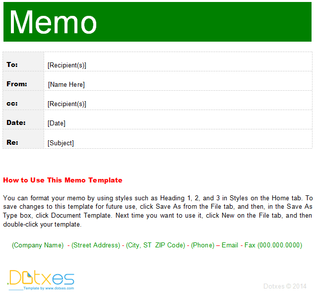 Memo Template (Interoffice)