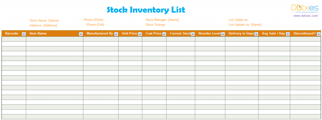 inventory list template  stock