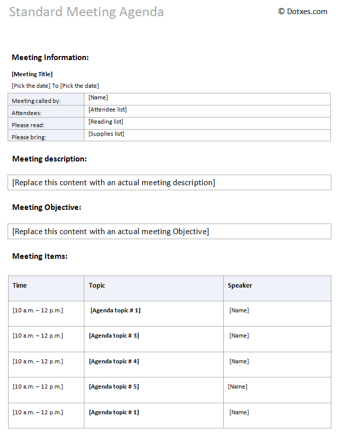 Standard meeting agenda template dotxes for Standard minutes of meeting template