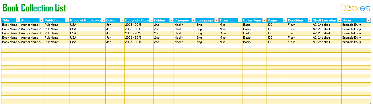 book tracking list template