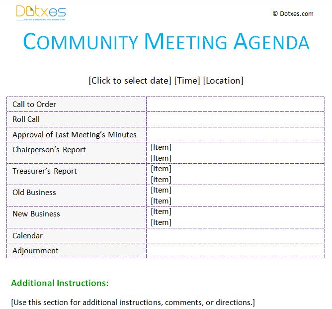 Meeting Agenda Template Community Dotxes