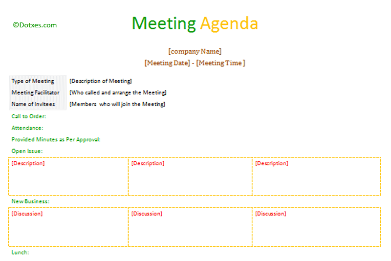 Formal Meeting Agenda Template (Table Format)   Dotxes  Formal Agenda Format