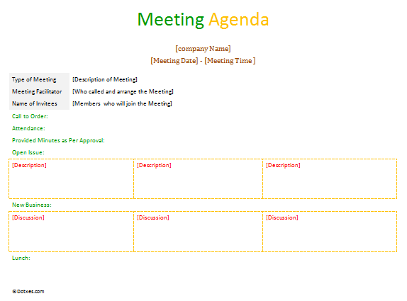 Formal meeting agenda template with neat table format
