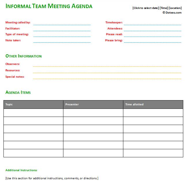 informal meeting agenda templates