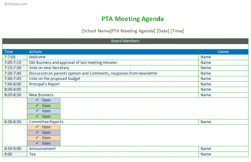 pta meeting agenda template dotxes