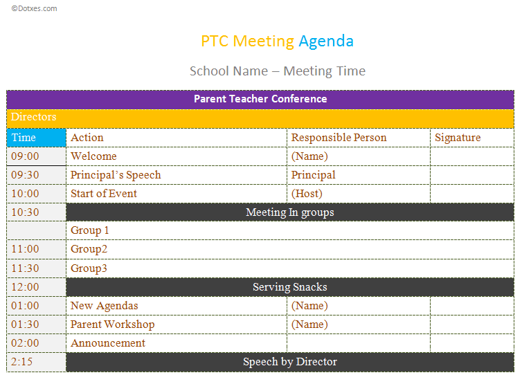Ptc meeting agenda template dotxes for Weekly meeting calendar template